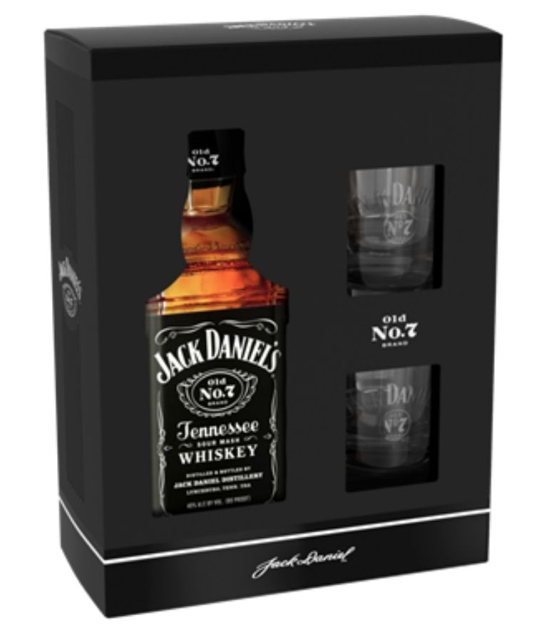 Jack Daniel's No.7 70cl With 2 Glasses Carton Pack