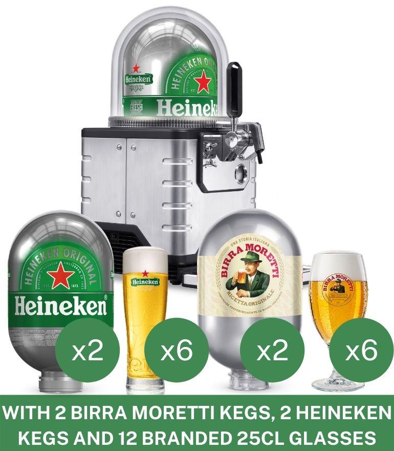 BLADE Machine with 2 Heineken kegs, 2 Moretti kegs + 12 glasses