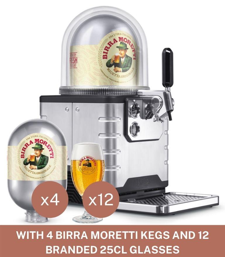 BLADE Machine with 4 Birra Moretti Kegs + 12 Birra Moretti Glasses