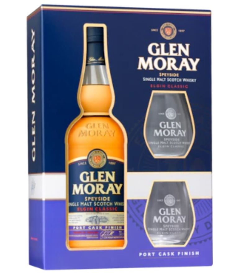 Glen Moray Port Cask Finish 70cl Gift Pack 2 Glasses