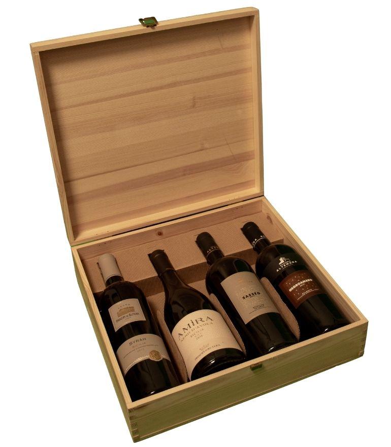Zonin Wooden Box Feudo Nero D'Avola, Amira, Negroamaro Salento, Sasseo Primitivo 4x75cl