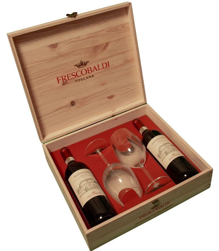 Frescobaldi Castiglioni Chianti Wooden Box 2x75cl 2 Glasses