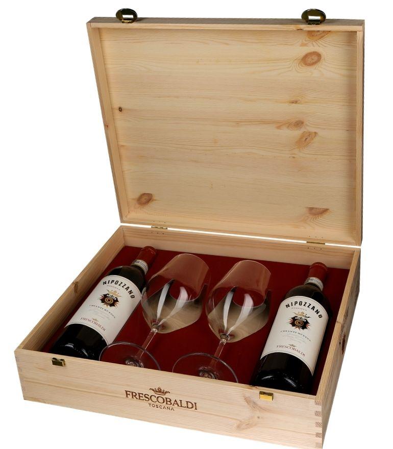Frescobaldi Nipozzano Wooden Box 2x75cl 2 Glasses