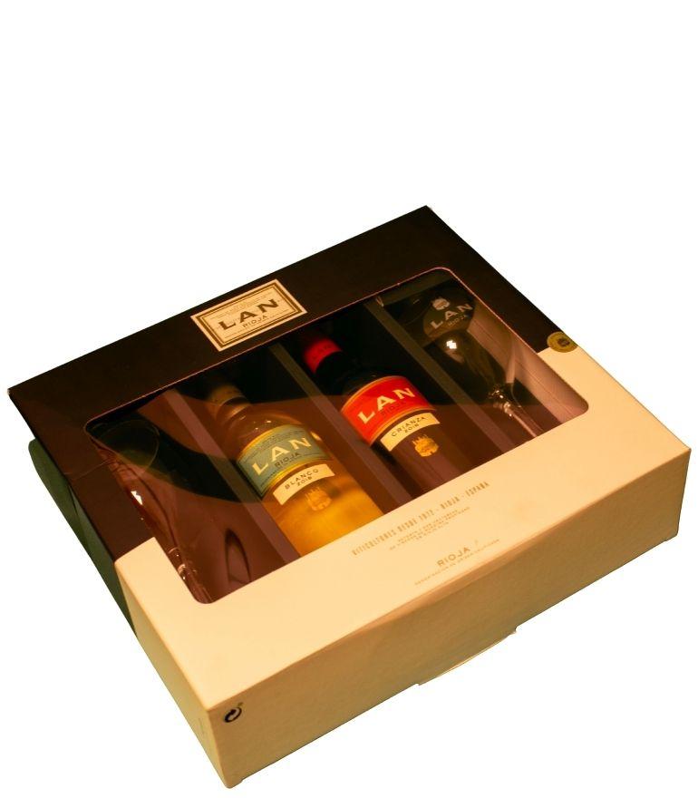 Lan Rioja Carton Box Blanco, Crianza 2x75cl 2 Glasses