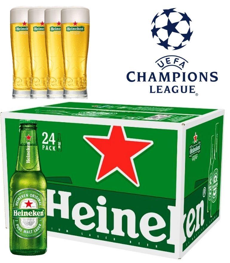 Heineken Lager 25cl Bottle Case X 24 with 4 FREE Heineken Champions League Glasses