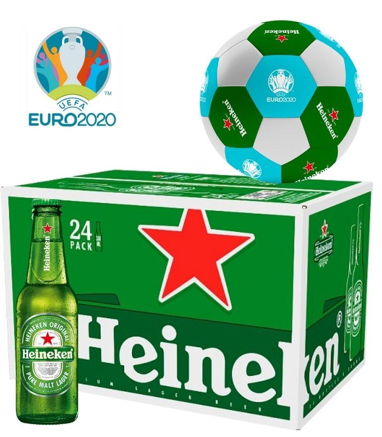 Heineken 25cl Bottle Case x 24 with 1 Free Heineken Euro 2020 Footlball