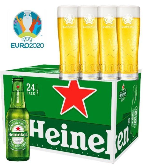 Heineken 25cl Bottle Case x 24 with 4 Free Heineken Euro 2020 Glasses