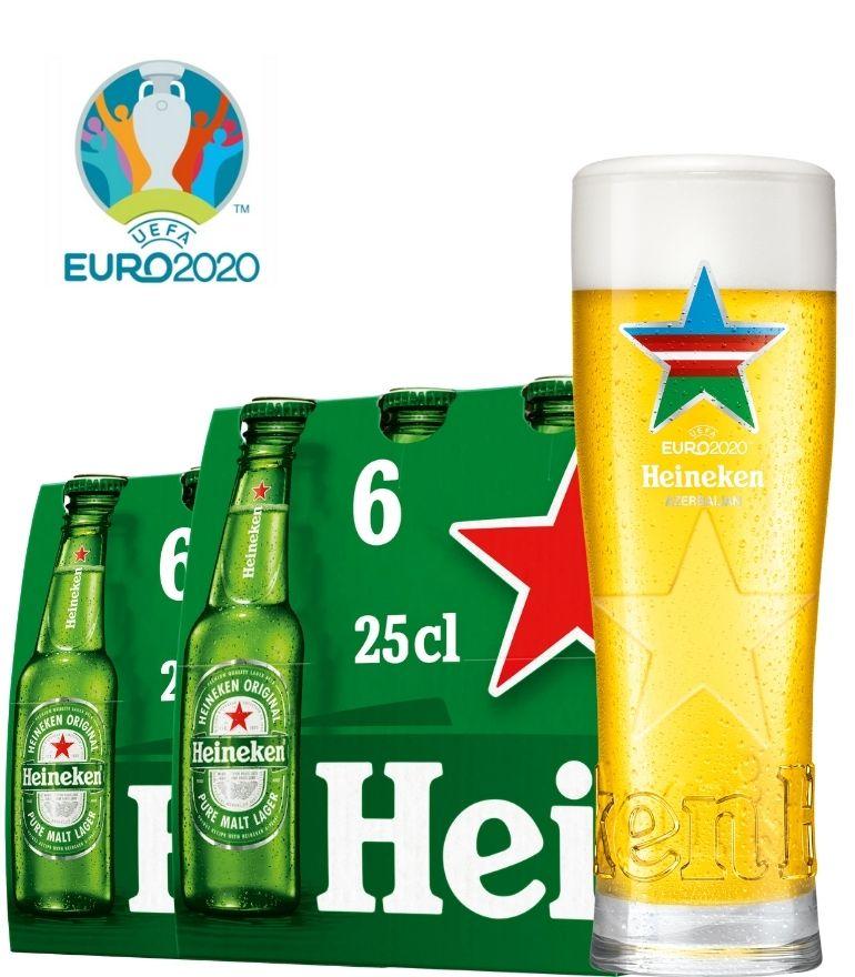 Heineken 2 x 6 Bottle Pack 25cl with 1 x Euro 2020 Azerbaijan Glass