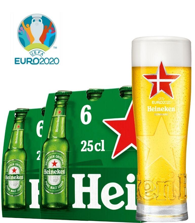 Heineken 2 x 6 Bottle Pack 25cl with 1 x Euro 2020 Denmark Glass