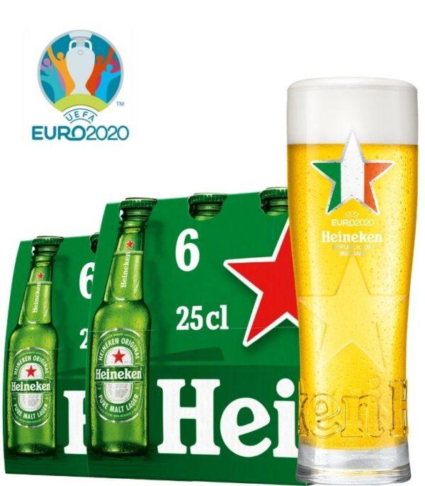 Heineken 2 x 6 Bottle Pack 25cl with 1 x Euro 2020 Ireland Glass