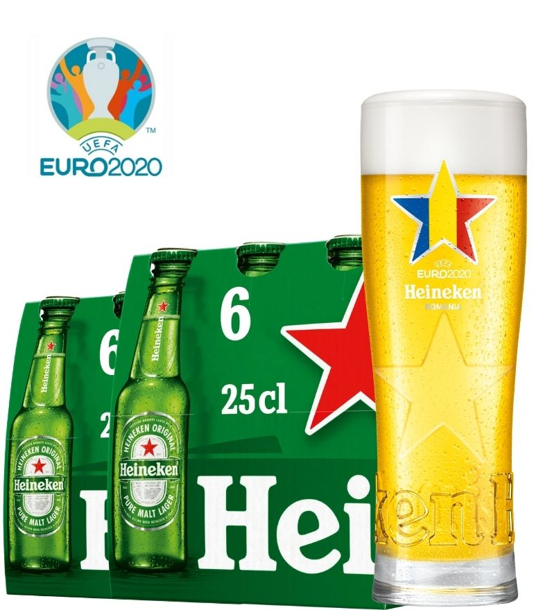 Heineken 2 x 6 Bottle Pack 25cl with 1 x Euro 2020 Romania Glass