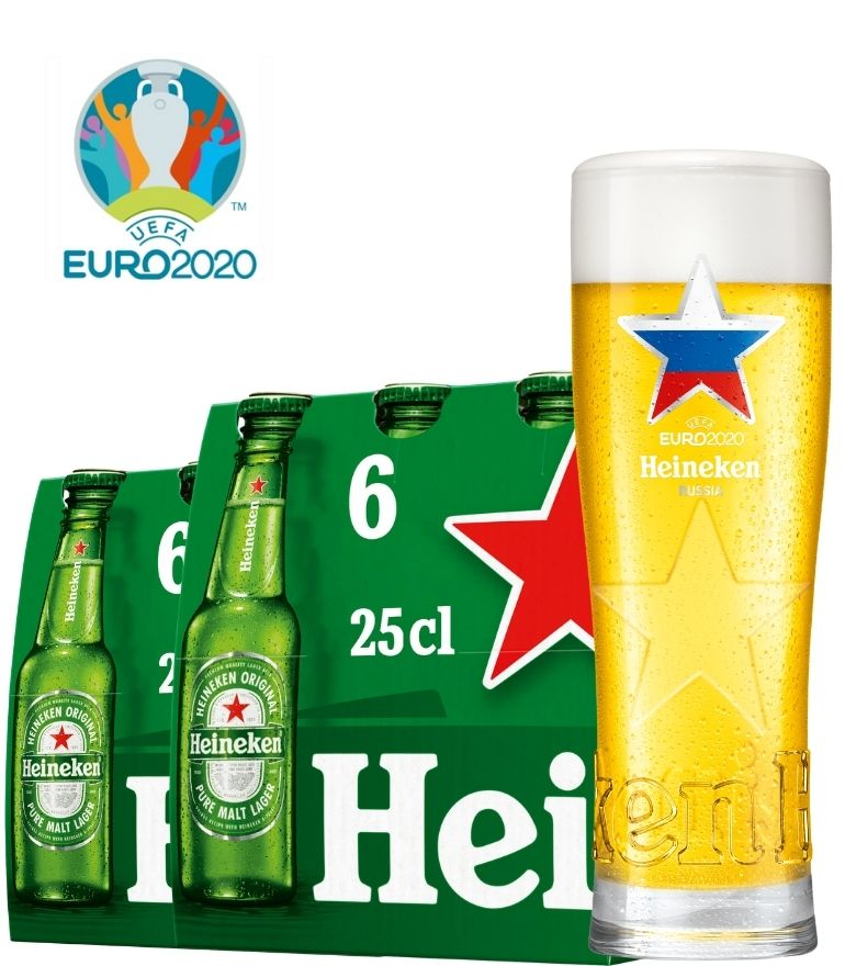 Heineken 2 x 6 Bottle Pack 25cl with 1 x Euro 2020 Russia Glass