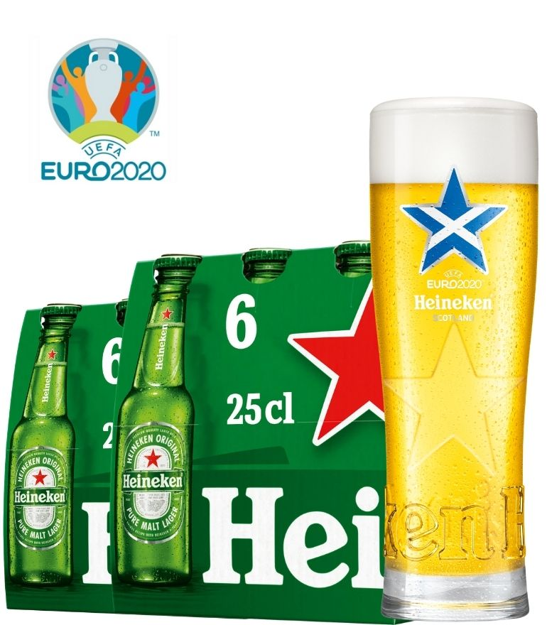 Heineken 2 x 6 Bottle Pack 25cl with 1 x Euro 2020 Scotland Glass
