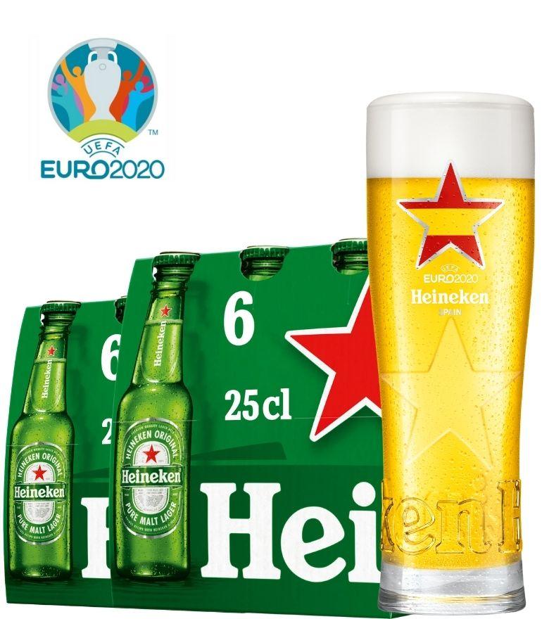 Heineken 2 x 6 Bottle Pack 25cl with 1 x Euro 2020 Spain Glass