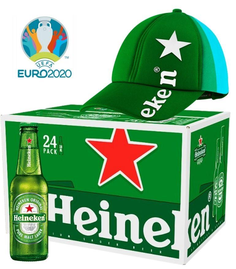Heineken 25cl Bottle Case x 24 with 1 Free Heineken Euro 2020 Cap
