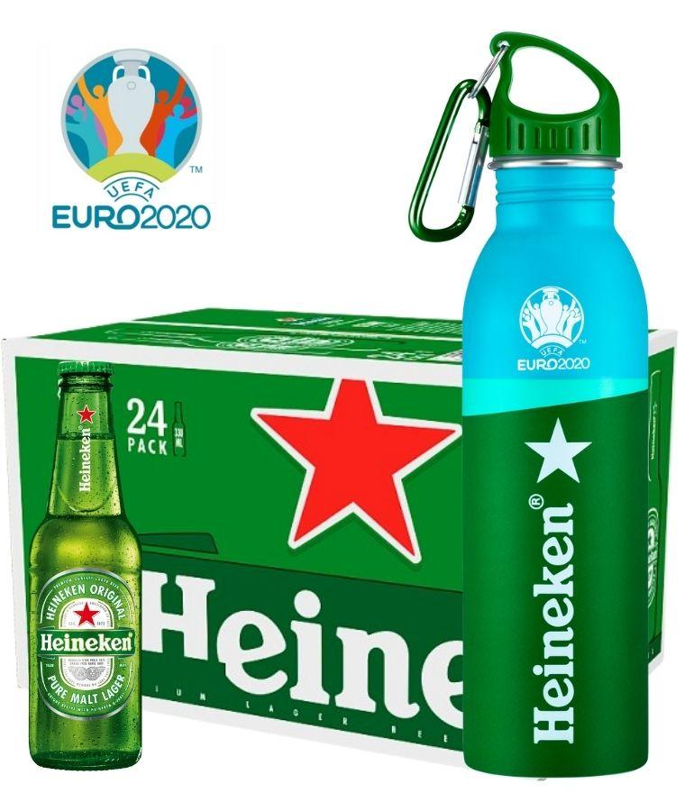 Heineken 25cl Bottle Case x 24 with 1 Free Heineken Euro 2020 Water Bottle