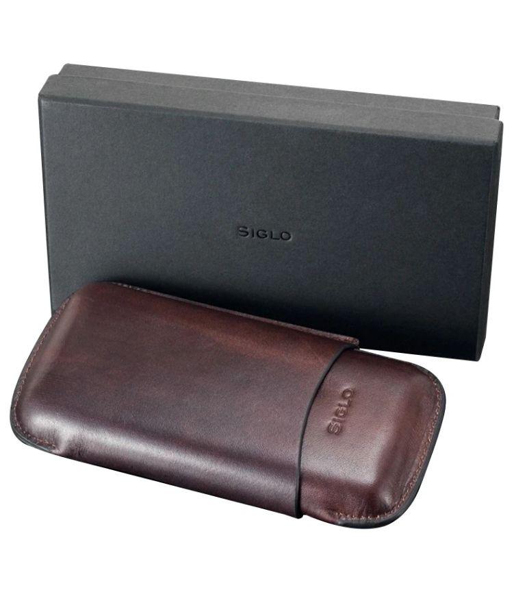 Siglo Vintage Leather Cigar case Brown